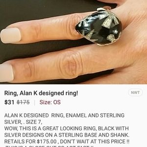 ALAN k sterling silver ring,  exclusive design!